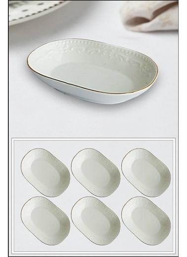 Kitchen Love Kitchen Love 6'lı 10,5 X 5 cm Mini Bantlı Oval Porselen ReÇellik Beyaz